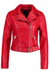 New Look Faux Leather Jacket Red