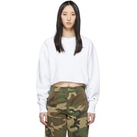 Champion Reverse Weave White Cropped Cut Off Sweatshirt