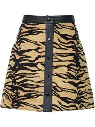 Adam By Adam Lippes Adam Lippes Tiger Jacquard A Line Mini Skirt Nude And Neutrals