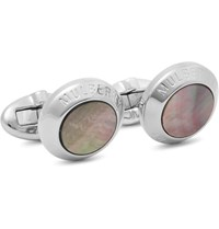 Mulberry Silver Plated Mother Of Pearl Cufflinks Silver