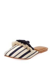 Figue Audrey Woven Tassel Mule Slide Blue Pattern