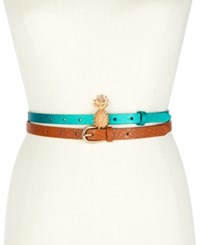 Inc International Concepts I.N.C. Pineapple 2 For 1 Skinny Belt Set Created For Macy's Teal Multi