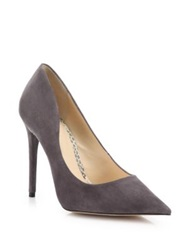 Alexandre Birman Olga Suede And Python Point Toe Pumps Grey