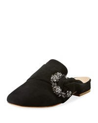 Bill Blass Laverne Suede Slide Flat Mules Black