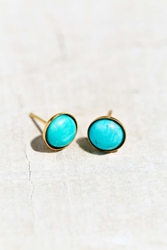 Urban Renewal Harlequin Round Turquoise Stud Earring Silver