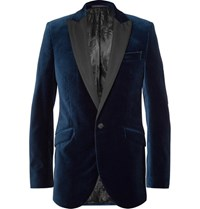 Favourbrook Blue Faille Trimmed Cotton Velvet Tuxedo Jacket Navy