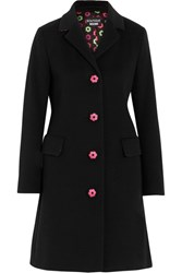 Boutique Moschino Embroidered Wool And Cashmere Blend Coat Black