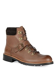 Andrew Marc New York Midiwood Leather Lace Up Buckle Boots Espresso
