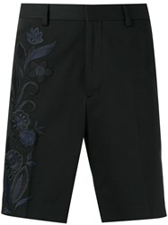 Fendi Floral Embroidered Bermuda Shorts Black