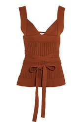 Victoria Beckham Open Back Ribbed Knit Stretch Cotton Wrap Top Brown