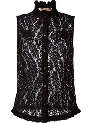 No21 Sleeveless Lace Shirt Black
