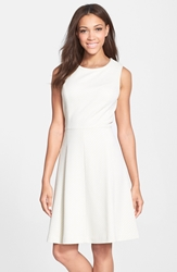 Maggy London Bonded Mesh Fit And Flare Dress Ivory