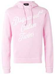 Dsquared2 Caten Twins Hoodie Men Cotton S Pink Purple