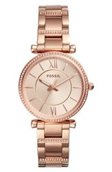 Fossil 'S Carlie T Bar Crystal Bracelet Watch 35Mm Rose Gold