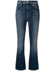 Mother Frayed Bootcut Cropped Jeans Blue