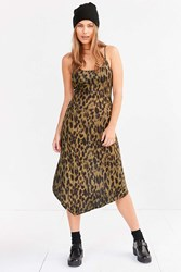 Silence And Noise Axel Leopard Bias Cut Midi Slip Dress Green Multi