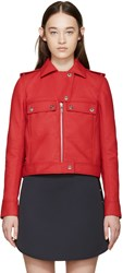 Courreges Red Faux Leather Jacket
