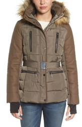 French Connection Women's Belted Quilted Jacket With Faux Fur Trim Taupe