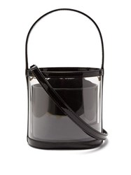 Staud Bisset Pvc And Patent Leather Bucket Bag Black