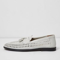 River Island White Leather Woven Tassel Loafers