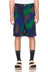 Sacai Leaf Shorts In Blue Abstract