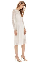 Topshop Women's Bride Tulle And Chantilly Lace Midi Dress Ivory