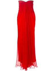 Alexander Mcqueen Draped Bustier Gown Red