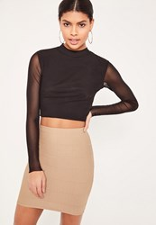Missguided Petite Brown Bandage Mini Skirt Camel