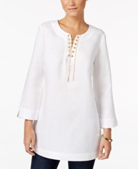Jm Collection Lace Up Three Quarter Sleeve Tunic Only At Macy's Bright White