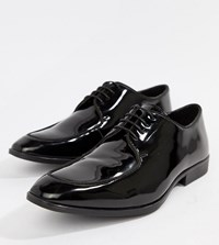 Asos Design Wide Fit Lace Up Shoes In Black Patent Leather