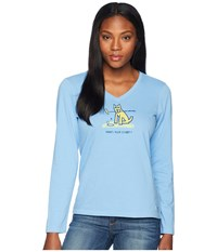 Life Is Good Who's Your Caddy Long Sleeve Crusher Vee Powder Blue T Shirt