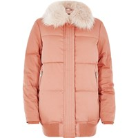 River Island Womens Pink Padded Coat With Faux Fur Trim