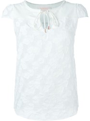 See By Chloe See By Chloe Embroidered Flower Mesh Blouse White