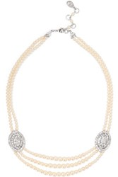 Ben Amun Silver Tone Faux Pearl And Crystal Necklace White