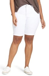 Nydj Plus Size Women's Briella Stretch Denim Shorts White