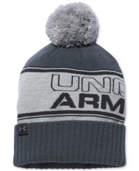 Under Armour Men's Pom Pom Beanie Stealth Gray Steel Hyper Green