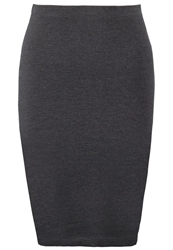 Zalando Essentials Pencil Skirt Dark Grey Melange Mottled Dark Grey