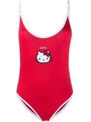 Gcds Kitty Ribbed Beach Swimsuit Red