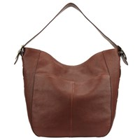 John Lewis Sophia Leather Large Hobo Bag Dark Tan