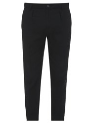 Vince Urban Linen Blend Cropped Chino Trousers Black