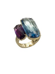 Marco Bicego Murano London Blue Topaz Amethyst And 18K Yellow Gold Ring Gold Multi