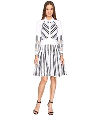 Zac Posen Long Sleeve Stripe Cotton Organdy Dress White Black Women's Dress