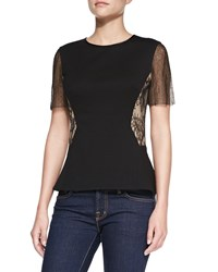 Jason Wu Ponte And Lace Short Sleeve Top Women's