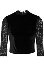 Alice Olivia Jenny Cropped Lace Paneled Velvet Top Black