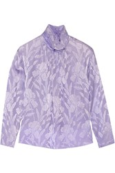 Nina Ricci Silk Jacquard Top Purple