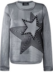 Anthony Vaccarello Studded Star Metallic Ribbed Sweater