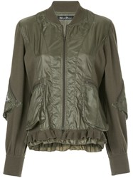 Hysteric Glamour Adios Frill Trim Bomber Jacket Green
