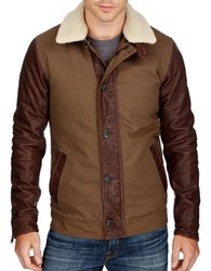 Lucky Brand Leather Flight Jacket Brown