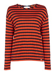 Hugo Boss Tibow Long Sleeve Stripe Top With Tie Neck Red