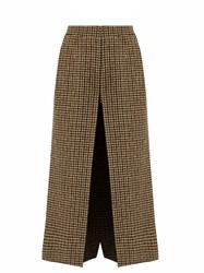 Saint Laurent Wide Leg Wool Tweed Culottes Beige Multi